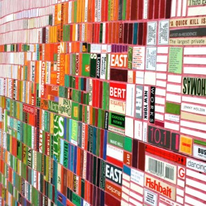 "Laurie Frick, ""Everything you forgot yesterday"" detail.  Made from cut paperback books."