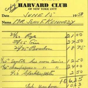 Laurie Frick - Cyberspace when you're dead....now you can see Kennedy archives online, here's the 1950 bar tab from RFK's bachelor party.