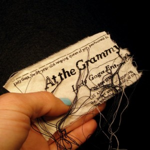"Lauren DiCioccio, 14FEB11, ""At the Grammys, Spectacles and Upsets"", Hand-embroidery on cotton"