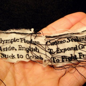 "Lauren DiCioccio, 16FEB11, ""Olympic Pledge / Cuomo Seeking"", Hand-embroidery on cotton"