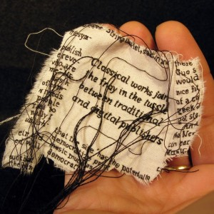 "Lauren DiCioccio, 22FEB11, ""Free Trove of Music Scores on Web Hits Sensitive Copyright Note"", Hand-embroidery on cotton muslin"