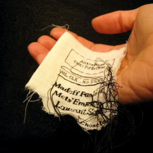 "Lauren DiCioccio, 5FEB11, ""Madoff Fueled Mets' Empire, Lawsuit Says"", Hand-embroidery on cotton muslin"