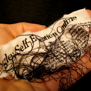 "Lauren DiCioccio, 7FEB11, ""The Work of Art in the Age of Google: Self-Education Online"", Hand-embroidery on cotton muslin"