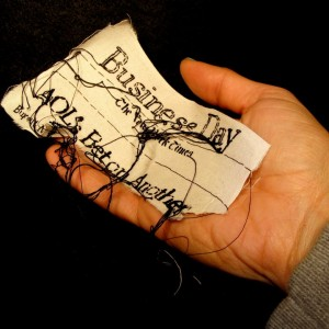 "Lauren DiCioccio, 8FEB11, ""AOL's Bet on Another Makeover"", Hand-embroidery on cotton muslin"