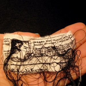 "Lauren DiCioccio, 9FEB11, ""As Egypt Protest Swells, U.S. Sends Specific Demands"", Hand-embroiderdy on cotton muslin"