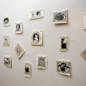 ©Jaz Graf: A Place of Home, (researching orphans and unidentified children's images from a hundred years ago), etching and paper lithography on paper, silk thread, copper and pencil, installation dimensions variable (20 pieces)