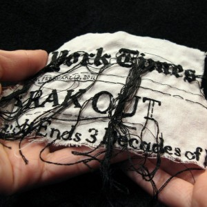 "Lauren DiCioccio, 12FEB11, ""Mubarak Out"", Hand-embroidery on cotton muslin"
