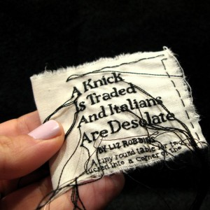 "Lauren DiCioccio, 24FEB11, ""A Knick is Traded and Italians are Desolate"", Hand-embroidery on cotton muslin"