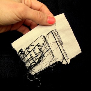 "Lauren DiCioccio, 27FEB11, ""Waiting 7 Years for 2 Answers"", Hand-embroidery on cotton muslin"