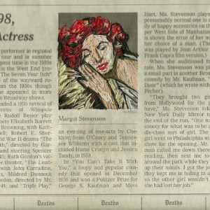 thread on newspaper, New York Times Obituaries, Jan 7 © Christine DaCruz 2011