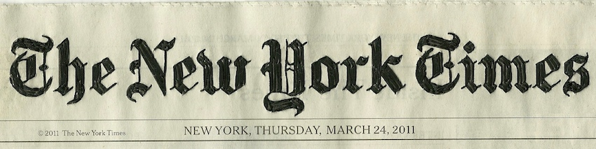 thread on Newspaper, New York Times front page, Mar 24 © Christine Da Cruz 2011