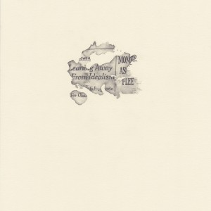 """""""Leaning Away,"""" coffee spill on The New York Times, study #7 © Lindsey Muscato, graphite on paper, 10 x 8 inches, 2011"""