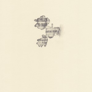 """to hold,"" coffee spill on The New York Times, study #2 © Lindsey Muscato, graphite on paper, 10 x 8 inches, 2011"