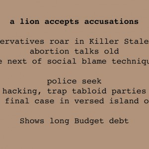 a lion accepts accusations, Chance Poem, Paper, © 2011 by Irene Chan