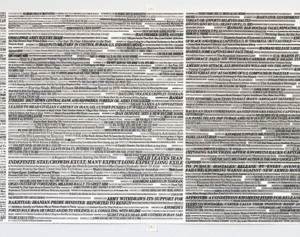 "© AJ Bocchino: New York Times Headlines (Mossadegh → 9/11), 2010 Watercolor on paper, L.36"" x W. 116"""