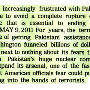 A.J. Bocchino: 5/13/2011, 'Middle East 2011 (Pakistan-Nuclear Weapons/Terrorism)'