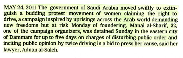 A.J. Bocchino: 5/24/2011, 'Middle East 2011 (Saudi Arabia-Women's Rights)'
